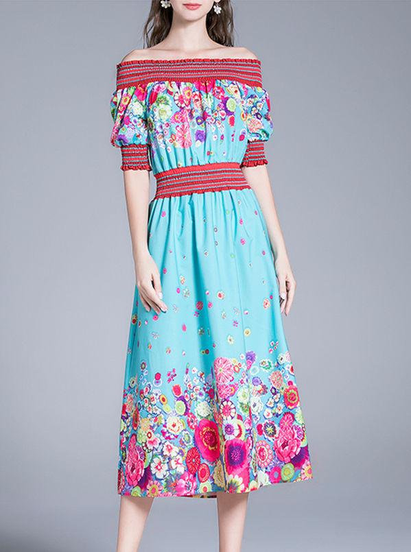 Grace Fashion Boat Neck Elastic Waist Flowers Dress