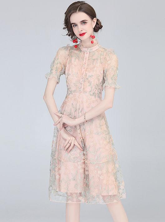 Grace Europe Flowers Embroidery Flare Sleeve Gauze Dress