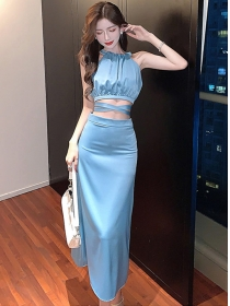 Modern Lady 2 Colors Tie Waist Halter Two Pieces Dress