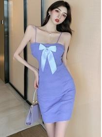 Sexy Korea 2 Colors Bowknot Straps Knitting Dress