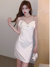 Lovely Sexy 2 Colors Bowknot Rhinestones Straps Dress