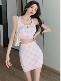 Summer New 2 Colors Zipper Open Plaids Knit Dress Set
