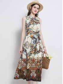 Retro Europe Round Neck Leopard Flowers Loosen Dress
