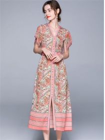 Charming Europe Single-breasted Flowers Long Dress