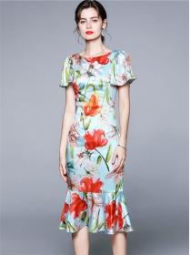 Elegant OL Flare Sleeve Flowers Fishtail Slim Dress