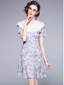 Grace Fashion Lace Doll Collar Flowers A-line Dress
