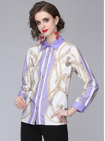 Fashion Women Chain Stripes Color Block Loosen Blouse