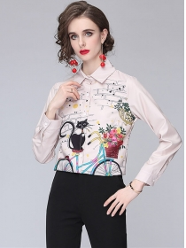 Lovely Wholesale Cartoon Printings Long Sleeve Blouse