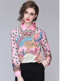 Pretty Women Fashion Flowers Shirt Collar Loosen Blouse