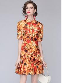 Retro Wholesale Shirt Collar Pleated Fishtail A-line Dress