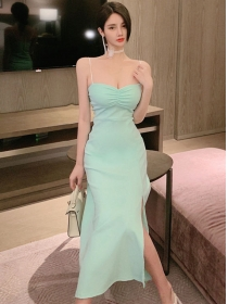 Sexy Wholesale 3 Colors High Waist Split Straps Dress
