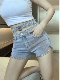 Chic Fashion Rhinestones Waist Hollow Out Women Jeans