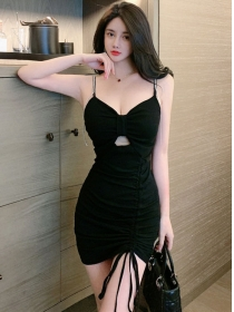 Sexy Lady Rhinestones Straps Draw-string Cotton Dress