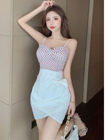 Sexy Charming 2 Colors Dots Bowknot Straps Slim Dress