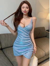 Pretty Sexy 2 Colors Low Bust Shining Straps Dress