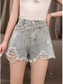 Modern New Rhinestones Tassels Waist Short Jeans