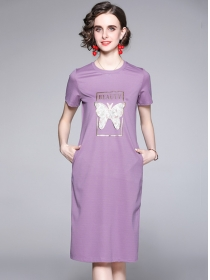 Europe Wholesale 2 Colors Rhinestones Butterfly Cotton Dress