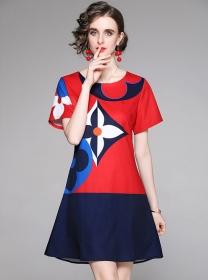 Wholesale Fashion Color Block Flowers Women Dress