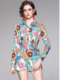 Pretty Europe Tie Waist Flowers Blouse with Short Pants