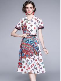 Retro Europe Shirt Collar Flowers Short Sleeve Dress