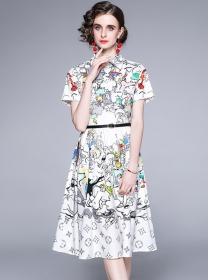 Modern Lady High Waist Cartoon Flowers A-line Dress