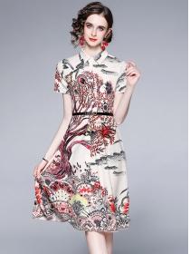 Pretty Fashion 2 Colors Shirt Collar Flowers A-line Dress