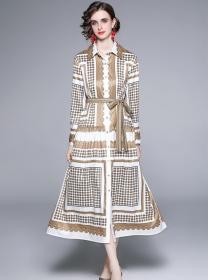 Europe Stylish Shirt Collar Dots Printings Long Dress
