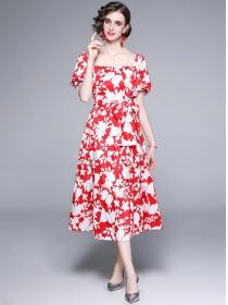 Summer Fashion Tie Waist Flowers Puff Sleeve Long Dress