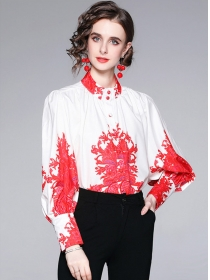 Hot Selling Flowers Puff Sleeve Loosen Long Sleeve Blouse