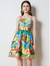 Summer Wholesale Flowers Stripes Straps A-line Dress