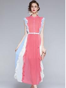 Europe Stylish 2 Colors Block Flouncing Pleated Maxi Dress