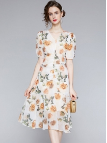 Lovely Wholesale V-neck High Waist Flowers Puff Sleeve Dress