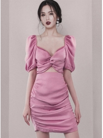 Modern Lady Twisted Bust Hollow Out Puff Sleeve Dress