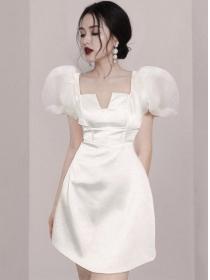 Korea OL Fitted Waist Square Collar Puff Sleeve Dress