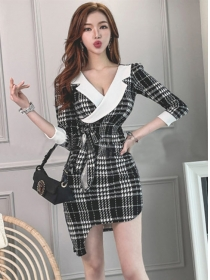 Classic Fashion Tailored V-neck Tie Waist Houndstooth Dress