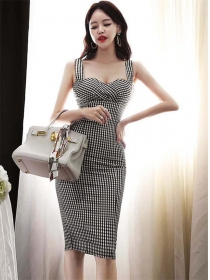 Wholesale Sexy High Waist Plaids Straps Skinny Dress