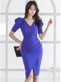 Grace Women Fitted Waist V-neck Pleated Slim Dress