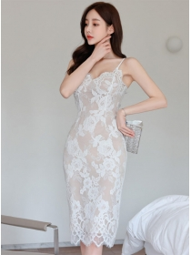 Pretty OL Wholesale Lace Flowers Bodycon Straps Dress