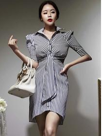 Classic Wholesale Shirt Collar Stripes Skinny Dress