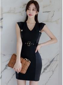 Summer Fashion V-neck Belt Waist Slim Tank Dress