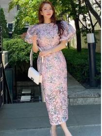 Pretty Women High Waist Puff Sleeve Flowers Long Dress