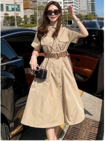 Casual Fashion Single-breasted Loosen Shirt A-line Dress