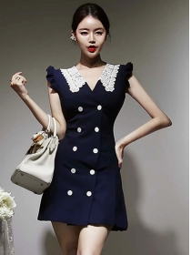 Retro Fashion Lace Doll Collar Double-breasted Tank Dress