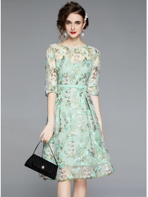 Pretty Women Flowers Embroidery Mid-sleeve Gauze Dress