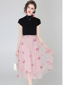 Lovely Wholesale Cotton T-shirt with Butterfly Gauze Skirt