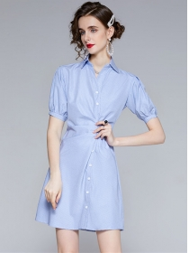 Hot Sell Shirt Collar Pleated Waist Plaids Slim Dress
