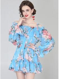 Pretty Women Boat Neck Elastic Waist Pleated Fishtail Dress