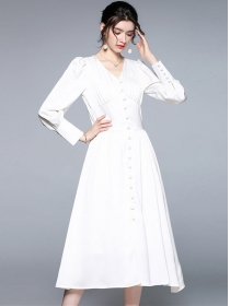 Grace Fashion High Waist V-neck Puff Sleeve Dress
