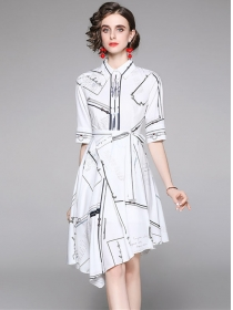 Europe Wholesale Shirt Collar Prints Flouncing Dress