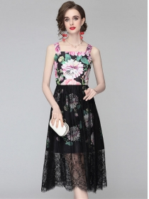 Hot Selling Lace Splicing Flowers Straps A-line Dress